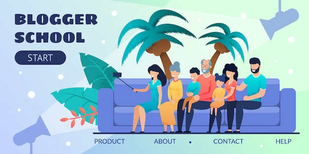 Blogger school design-zielseite für bildung Premium Vektoren