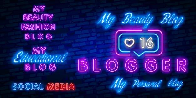 Blogging design vorlage leuchtreklame, licht banner, leuchtreklame, nächtliche helle werbung, licht inschrift. Premium Vektoren