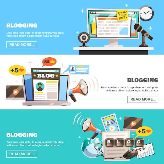 Blogging horizontale banner gesetzt Kostenlosen Vektoren