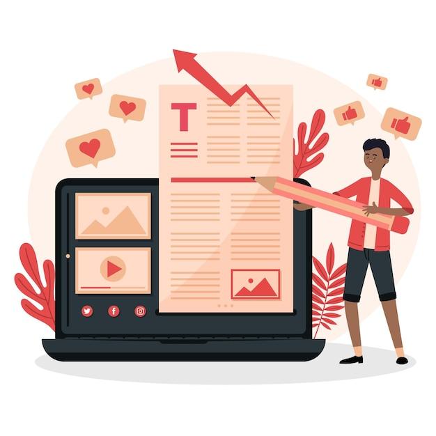 Blogging-konzept mit dem menschen Kostenlosen Vektoren