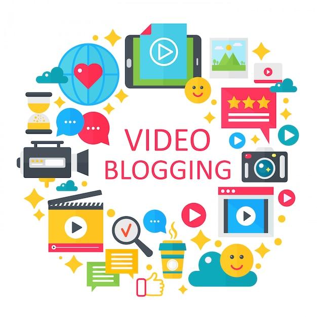 Blogging-konzeptillustration des videos Premium Vektoren
