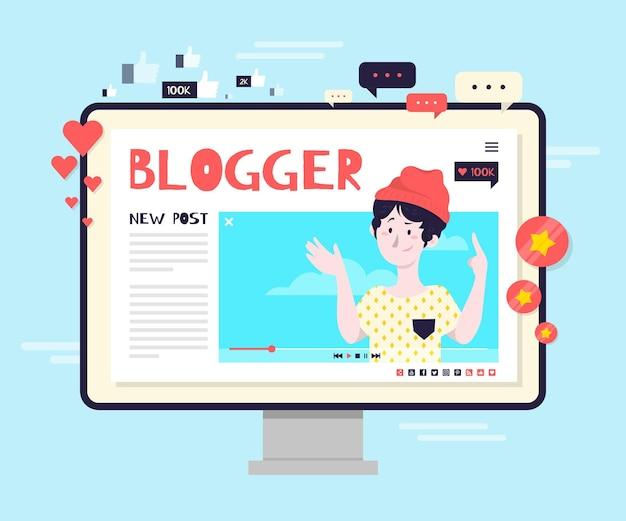 Blogging-konzeptillustration Kostenlosen Vektoren