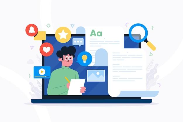 Blogging social media konzept Premium Vektoren