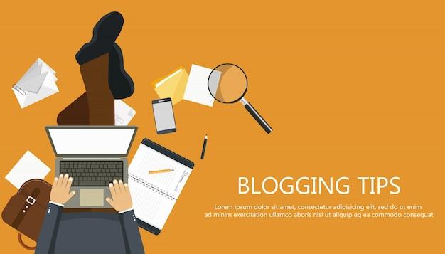 Blogging tipps konzept Kostenlosen Vektoren