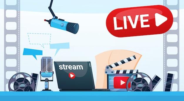 Blogging-video-blog-online-online-streaming-konzept Premium Vektoren