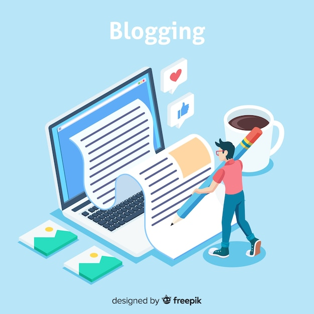 Blogkonzept mit isometrischer ansicht Kostenlosen Vektoren