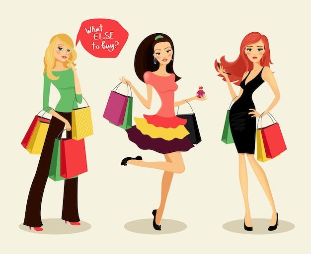 Blonde, brünette und rothaarige modeeinkaufsmädchen mit taschen und paketen in der hand, frohe einkäufe, vektorillustration Kostenlosen Vektoren