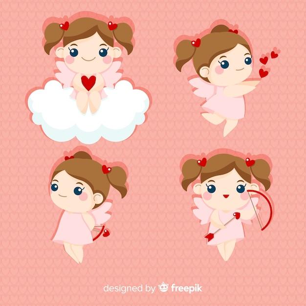 Blonde cherubin-valentinsgrußsammlung Kostenlosen Vektoren