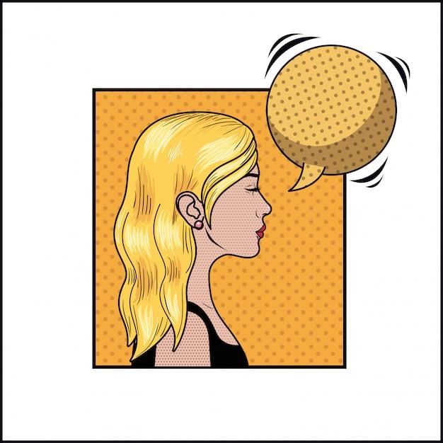 Blonde frau mit sprechblasen-pop-art-stil Premium Vektoren