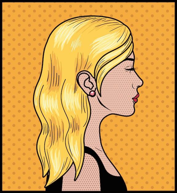 Blonde frau pop-art-stil Premium Vektoren