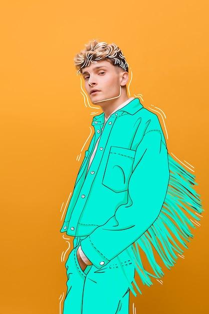 Blondes mode-modell mit blauer ausstattung Kostenlosen Vektoren