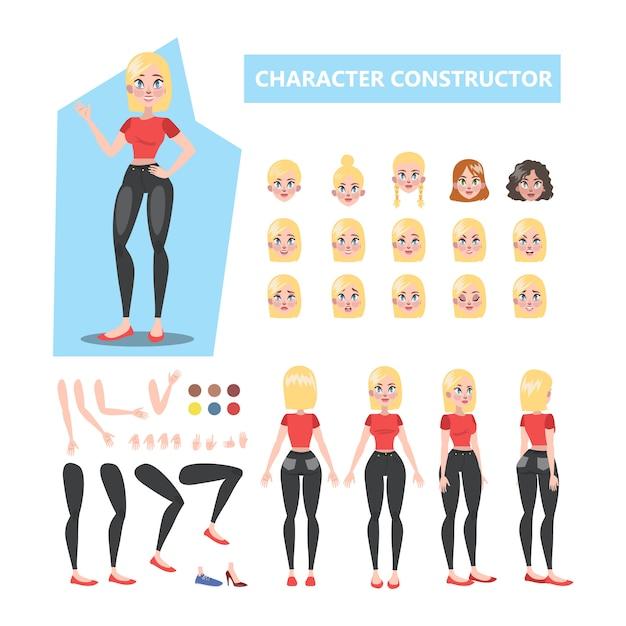 Blondine hübsche frau zeichensatz für animation mit verschiedenen ansichten Premium Vektoren