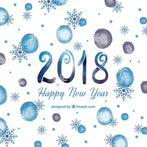Blue aquarell neujahr 2018 hintergrund Kostenlosen Vektoren
