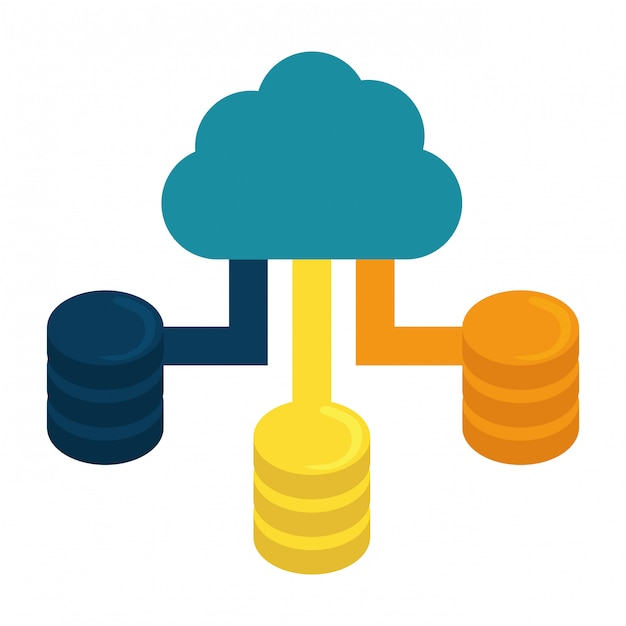 Blue cloud-hosting-rechenzentrum Premium Vektoren