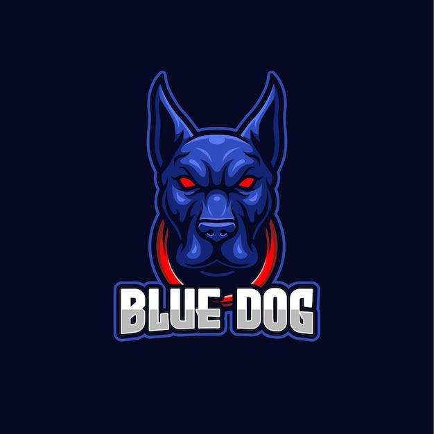 Blue dog esports logo maskottchen vorlage Premium Vektoren