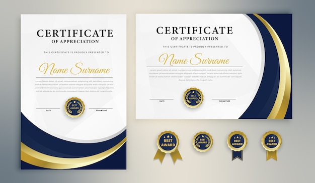 Blue gold award zertifikatvorlage Premium Vektoren