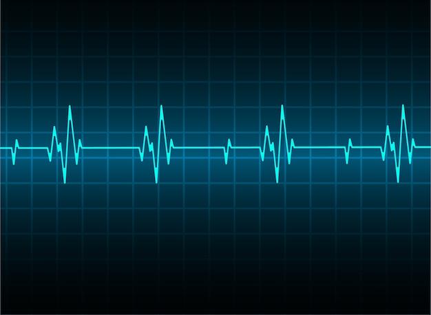 Blue heart pulsmonitor mit signal. herzschlag. symbol. ekg Premium Vektoren