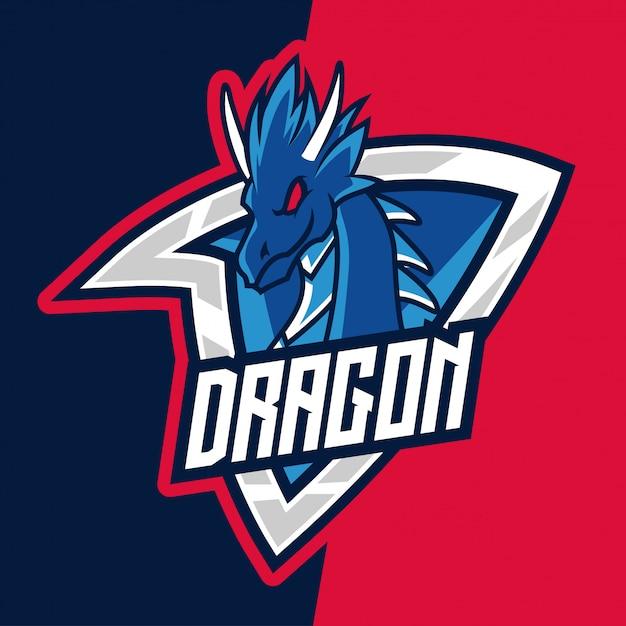 Blue mountain dragon warrior e-sport maskottchen logo Premium Vektoren