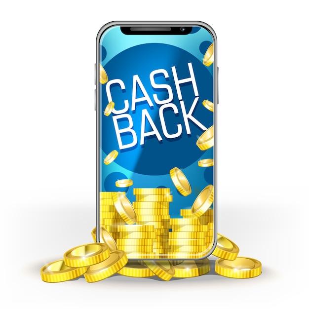 Blue screen-handy mit einem satz goldmünzen und cashback. vorlage für layoutbank, spiel, mobilfunknetz oder technologie, boni für jackpot Premium Vektoren