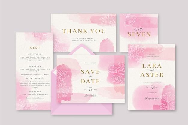 Blühende rosa hochzeitsbriefpapiereinladung Kostenlosen Vektoren