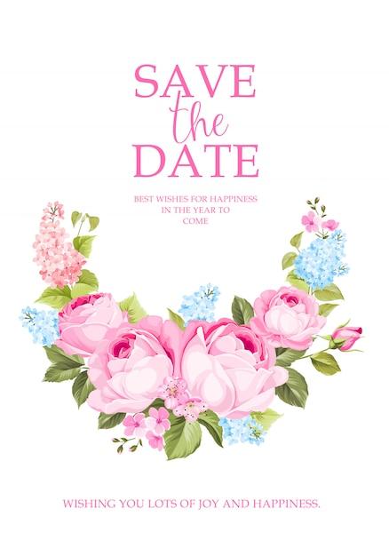 Blühende rosafarbene niederlassung für abwehr die datumskarte. Premium Vektoren