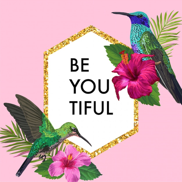 Blühender frühlings-blumenrahmen mit tropischem kolibri Premium Vektoren