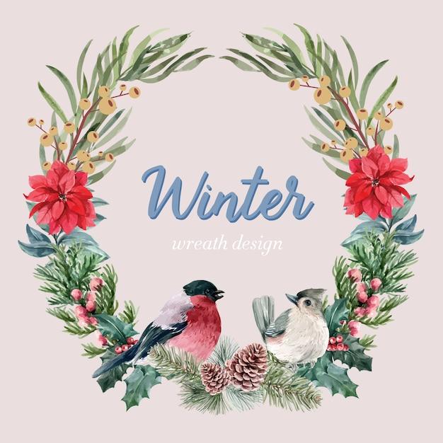 Blühender kranzmit blumenrahmen des winters elegant für die dekorationsweinlese schön Kostenlosen Vektoren