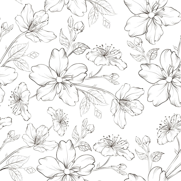 Blühendes nahtloses sakura-muster Kostenlosen Vektoren