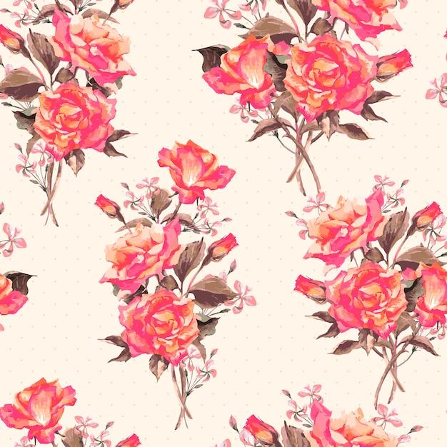Blühendes rosenmuster des vintagen aquarells Premium Vektoren
