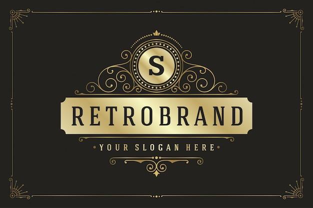Blüht elegante rahmenluxusverzierung des kalligraphischen monogrammemblems Premium Vektoren