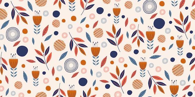 Blüht nahtloses muster mit nette hand gezeichnetem skandinavischem garten Premium Vektoren