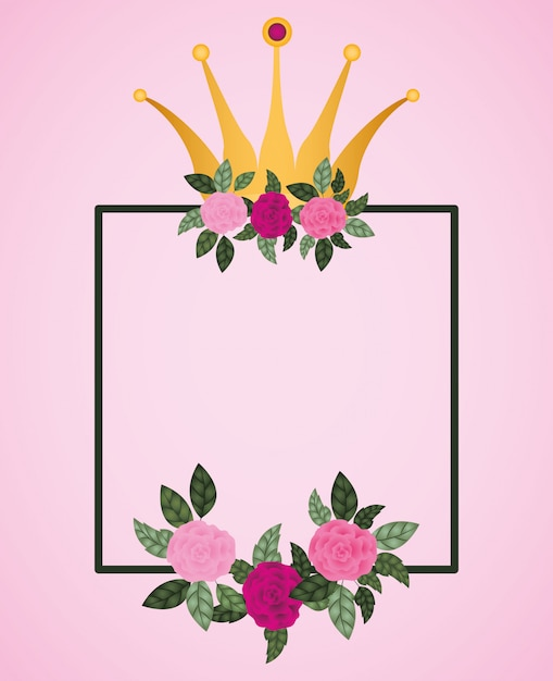 Blüht rosen mit königinkronendekoration Premium Vektoren