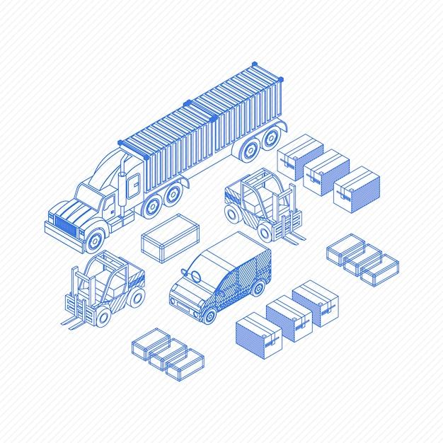 Blueprint icons für liefergegenstände Premium Vektoren