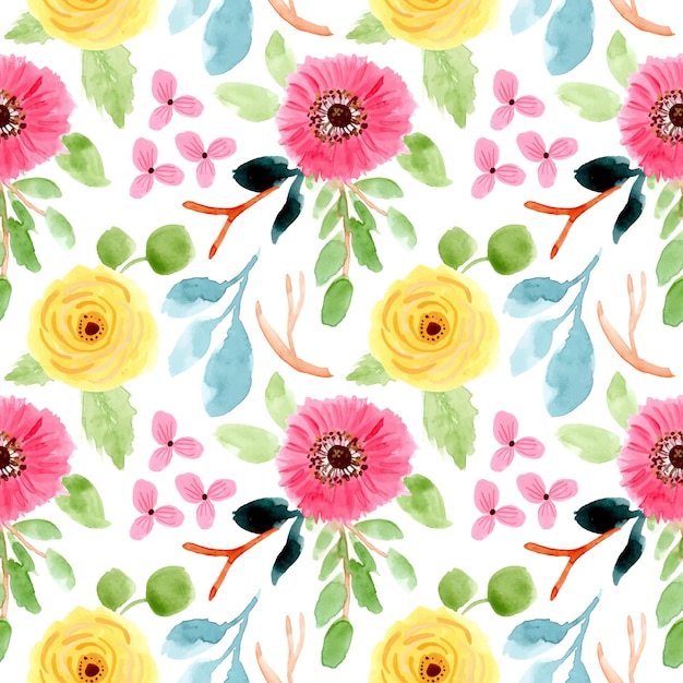 Blüte blumen aquarell nahtlose muster Premium Vektoren