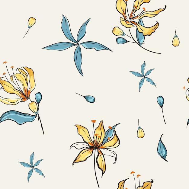 Blühende weiße Blumen des nahtlosen mit Blumenmuskels botanisch ...