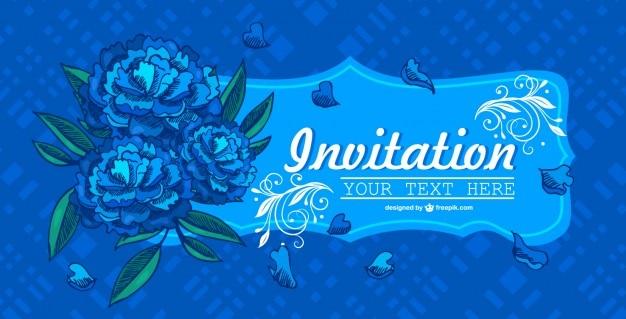 Blume einladung blauen design Kostenlosen Vektoren
