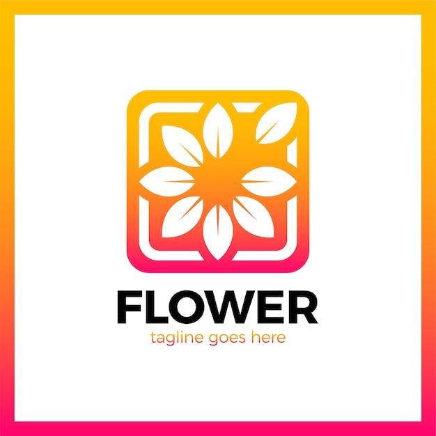 Blume im quadratischen rahmen-firmenzeichen. gliederung medien natur Premium Vektoren