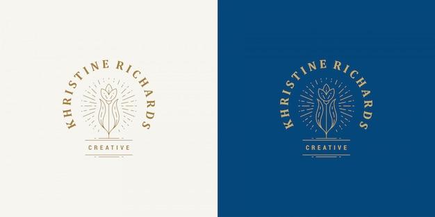 Blume linie und zweig mit blättern vektor logo emblem design vorlage illustration einfachen linearen stil Premium Vektoren