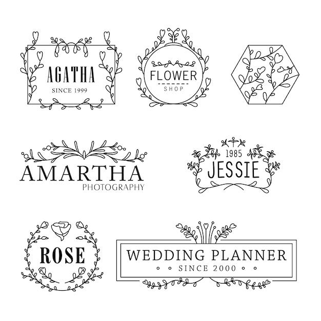Blume logo templates feminine florist concept Premium Vektoren
