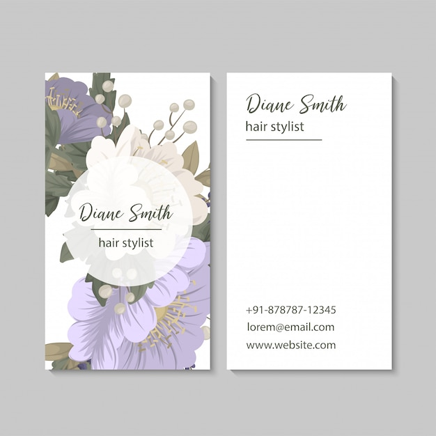 Blume visitenkarten lila blumen Kostenlosen Vektoren