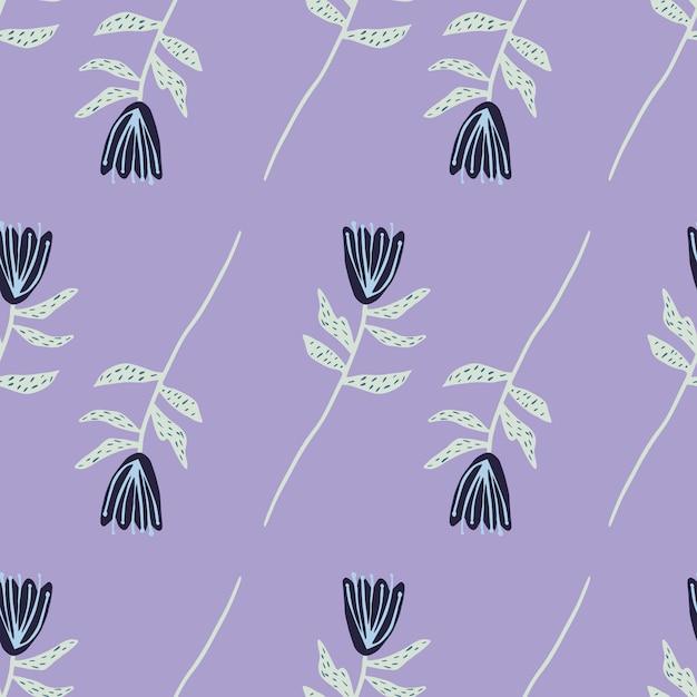Blumen abstrakte silhouetten minimalistisches nahtloses muster. blaue tulpen mit grauen zweigen auf hellviolettem hintergrund. Premium Vektoren