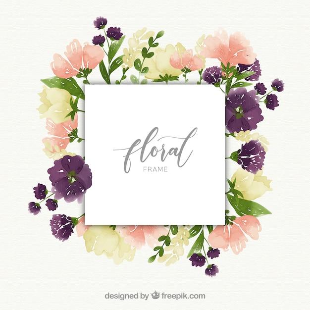 Blumen aquarell rahmenkonzept Kostenlosen Vektoren