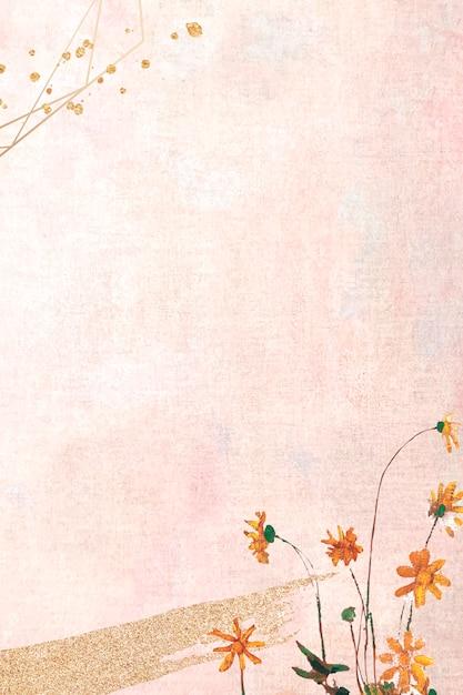 Blumen auf einer pastellleinwand Kostenlosen Vektoren