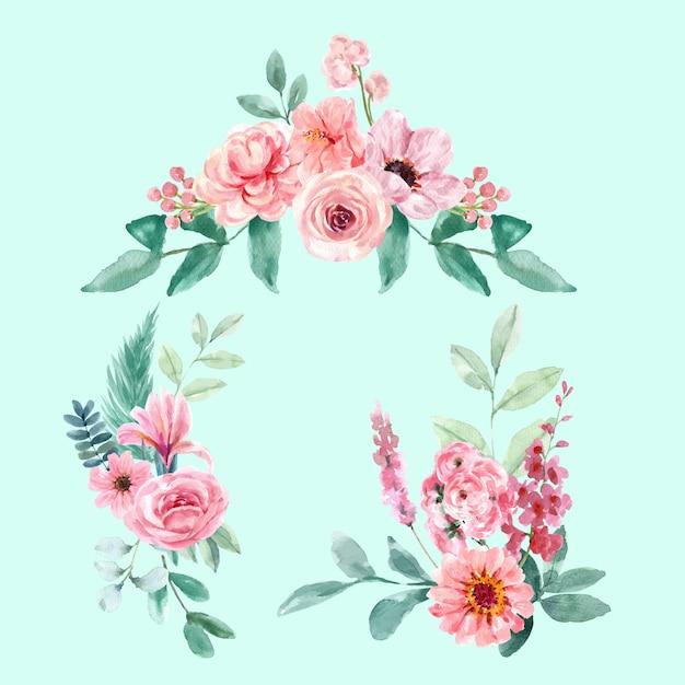 Blumen bezaubernder blumenstrauß des retro-stils mit vintage-blumenaquarellillustration. Kostenlosen Vektoren