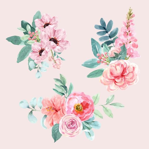 Blumen bezaubernder blumenstrauß mit aquarellmalerei von blättern, anemonenillustration. Kostenlosen Vektoren