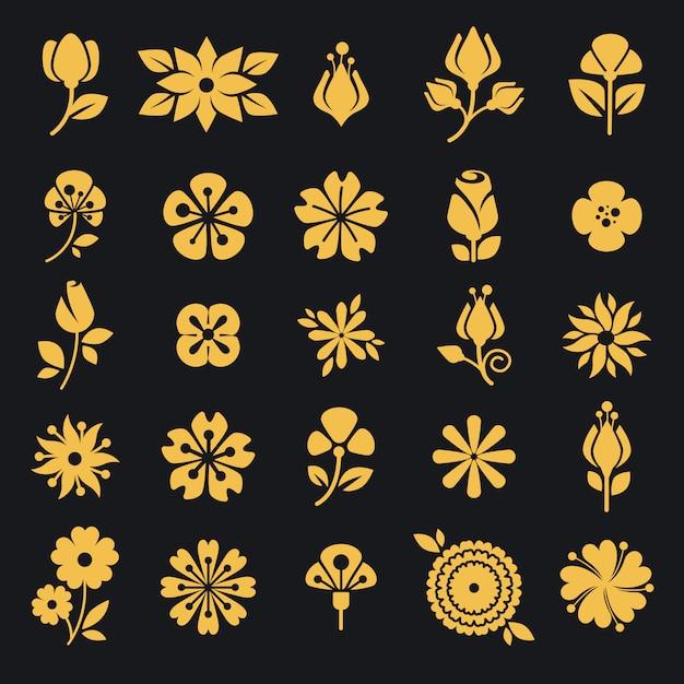 Blumen blühen und blattvektor-schattenbildikonen Premium Vektoren