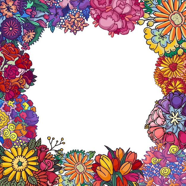 Blumen lokalisierten illustration. blumendekorationsrahmen, grenze ,. grußkartengeburtstag der blühenden pflanzen, valentinsgrüße, muttertag, hochzeit. Premium Vektoren