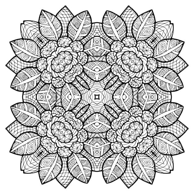 Blumen Mandala Muster Zum Ausmalen Download Der Premium Vektor