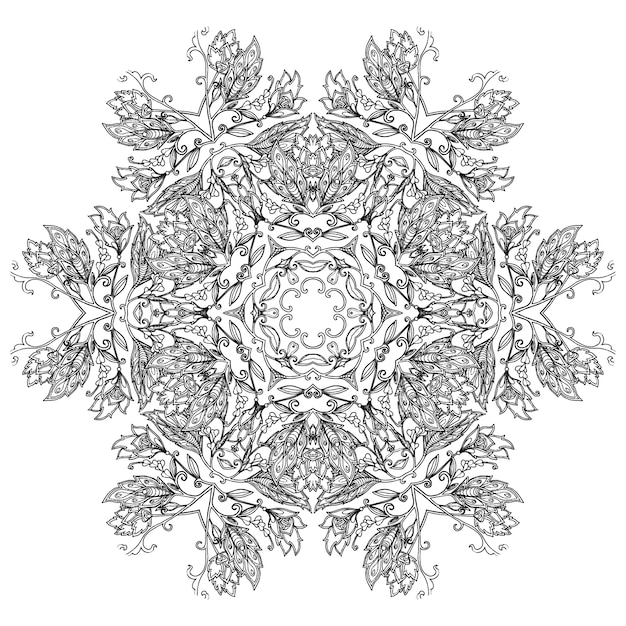 Blumen Mandala Muster Zum Ausmalen Premium Vektor