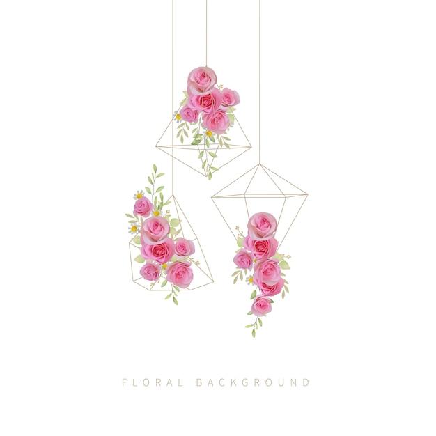 Blumen mit blumenrosa-rosenblumen im terrarium Premium Vektoren